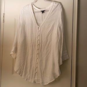 White button down flowy blouse